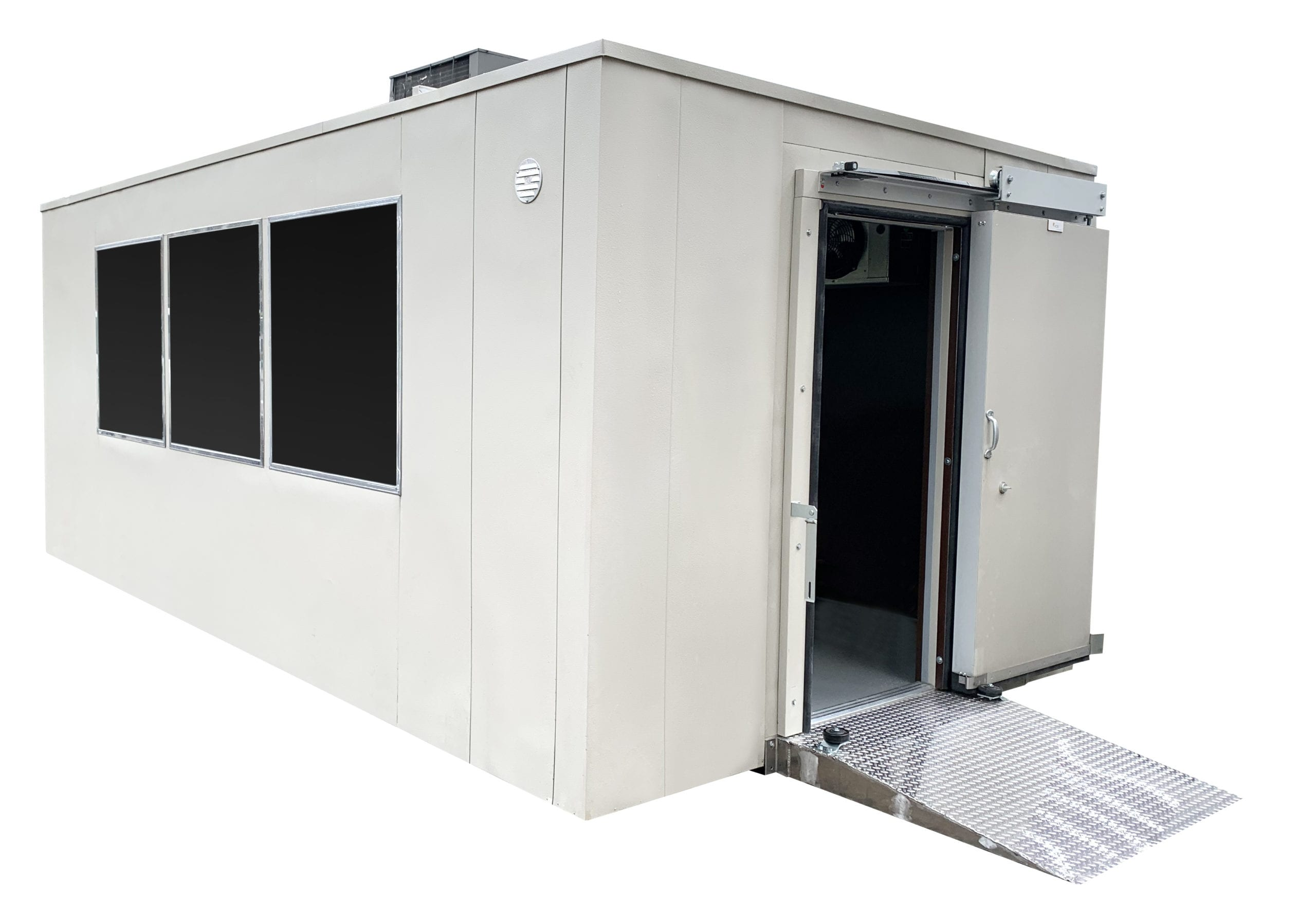 Everidge HVAC-controlled ambient environment walk-in units and refrigerated walk-in coolers and freezers are available for outdoor or indoor applications